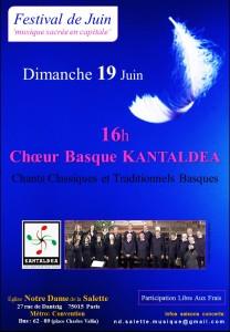 2d - NDS- 19 Juin Chœur Basque KANTALDEA . affiche